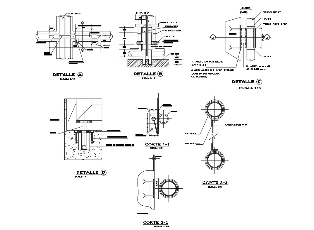 Column construction and structure details of house gate dwg file