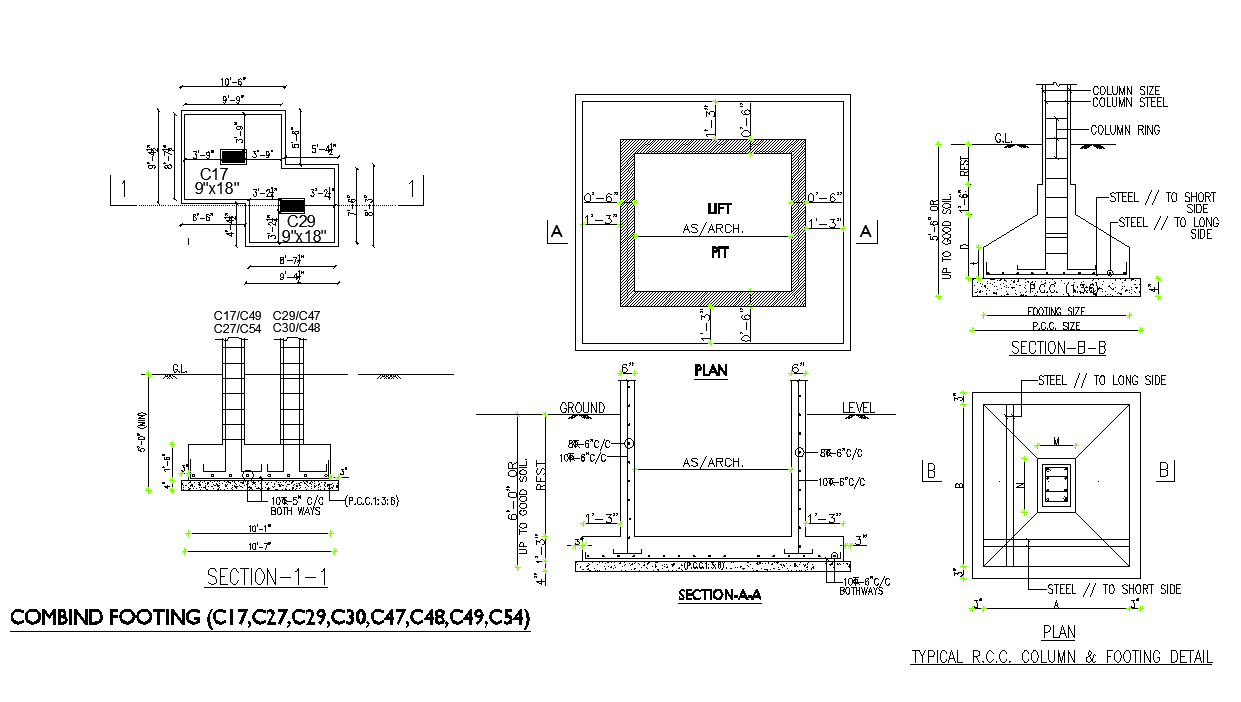 Combined footing detail section 2d view layout file
