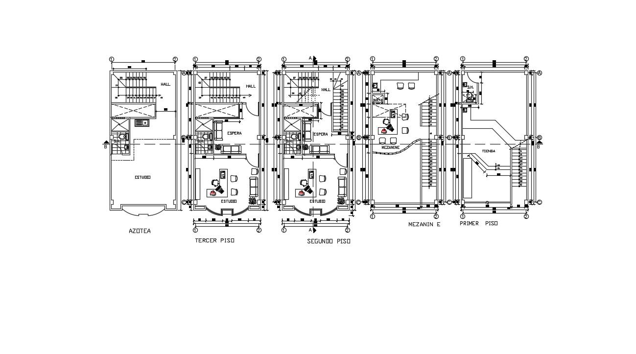 Commercial Building Design Plans In AutoCAD File