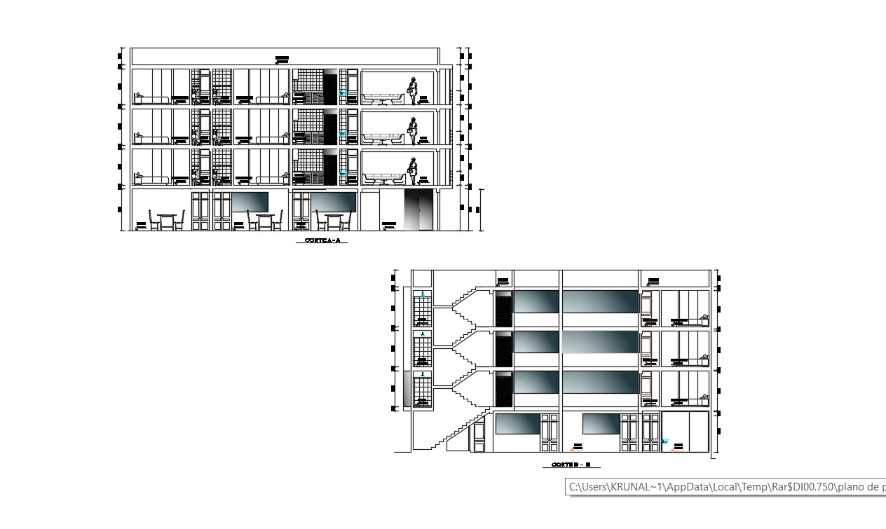Commercial Building Elevation In AutoCAD File