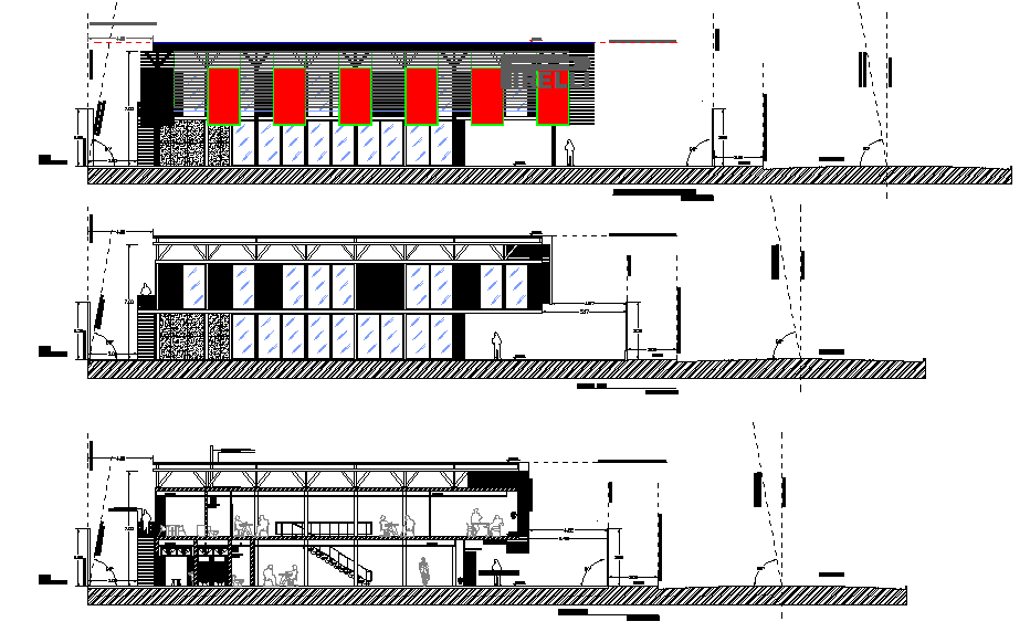 Commercial Elevation working detail dwg file