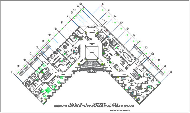 Commercial building center line plan detail dwg file