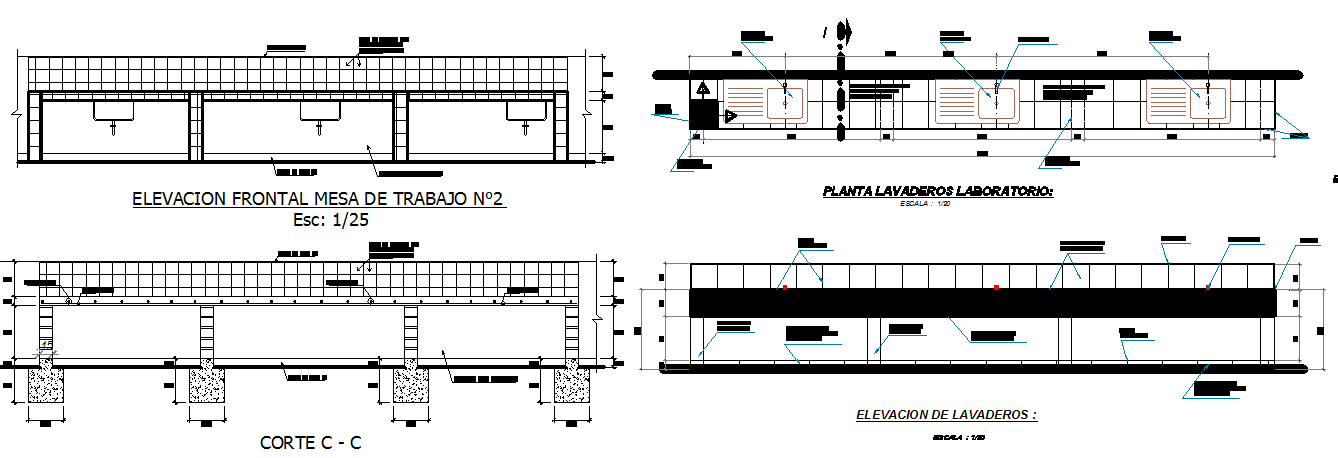 Commercial building elevation and section detail dwg file