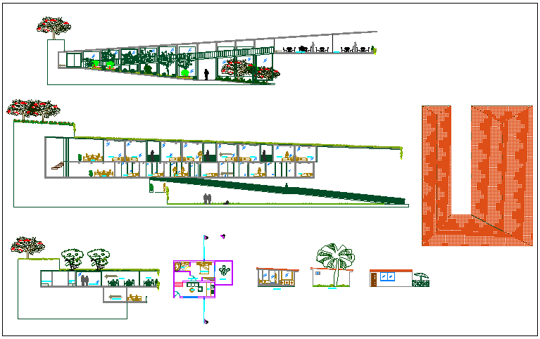 Commercial building elevation view detail dwg file