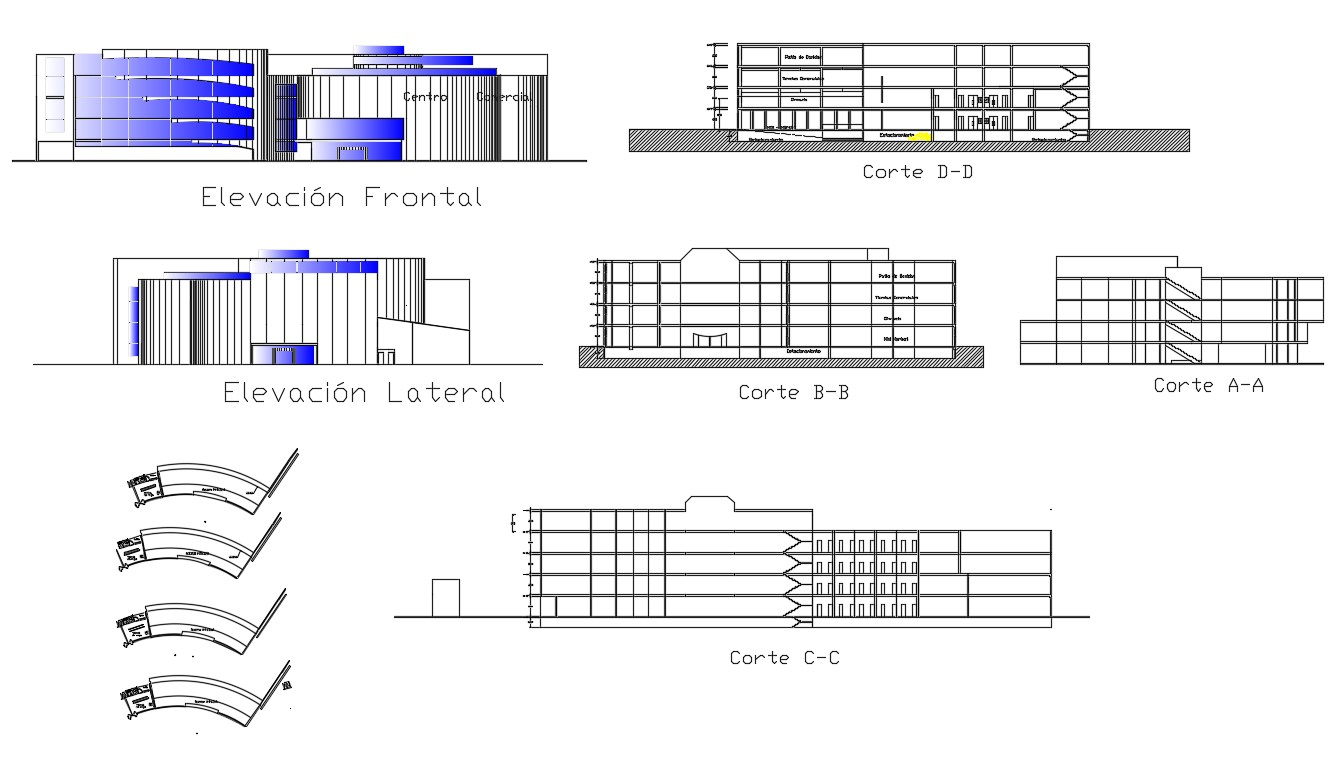 Commercial business center multi-flooring all sided elevation and section details dwg file