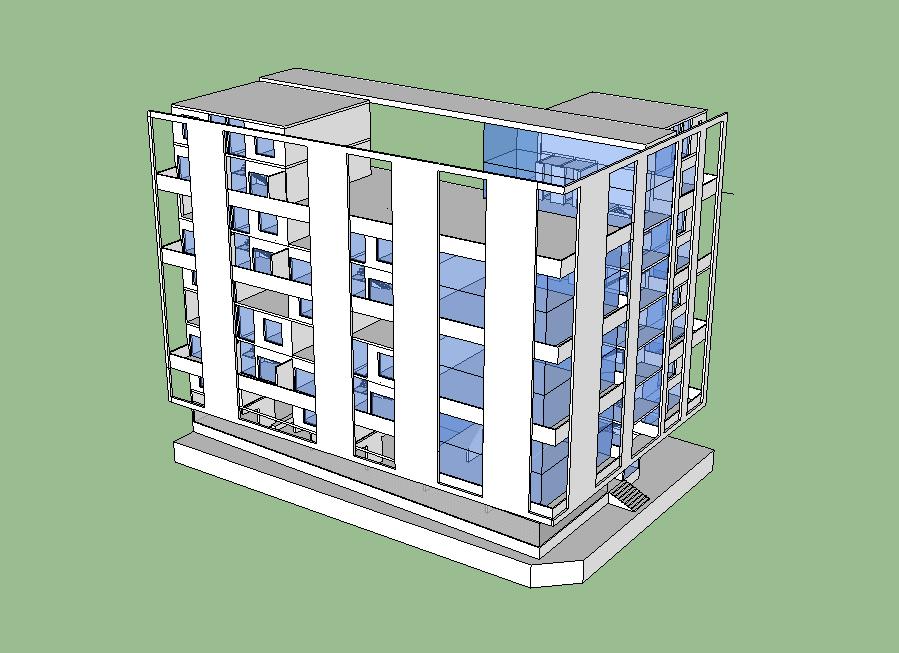Commercial complex building detail elevation 3d model sketch-up file