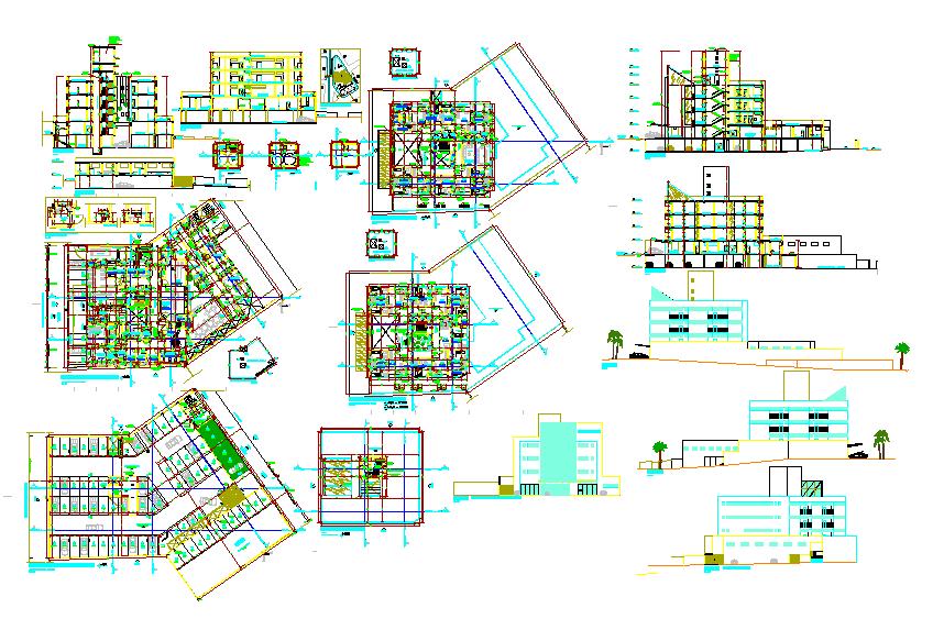 Commercial complex plans architecture design