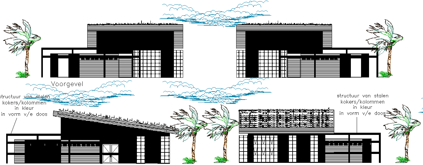 Commercial elevation and section detail dwg file