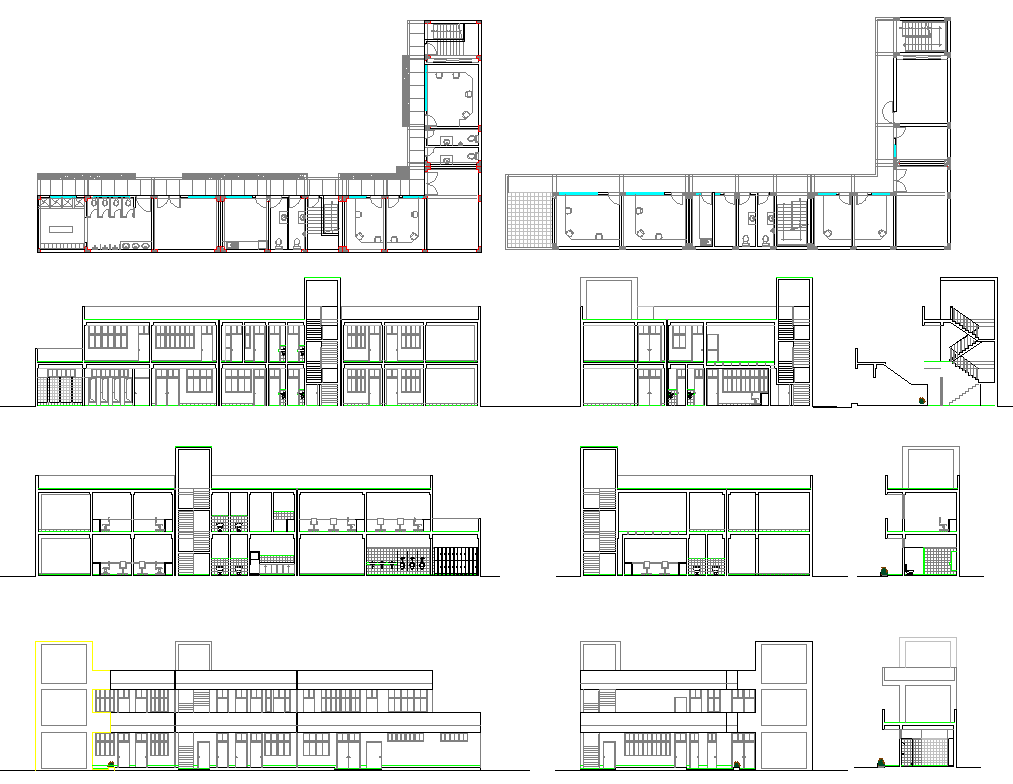 Commercial office building plan detail view dwg file