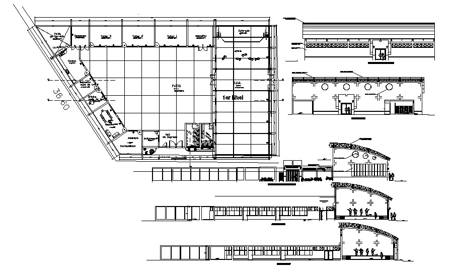 Commercial office with elevation in dwg file