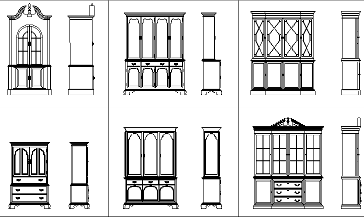 Common cupboard blocks details dwg file