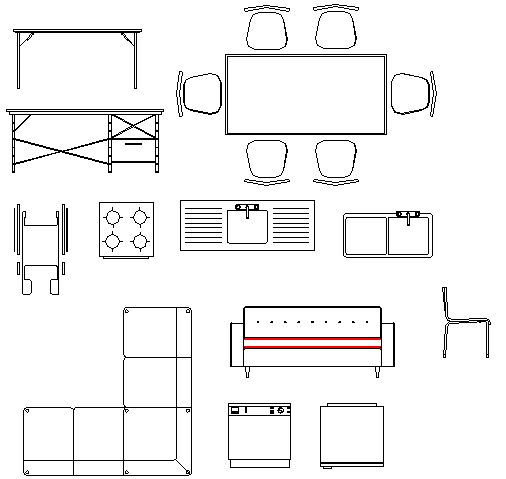Common furniture blocks details dwg file