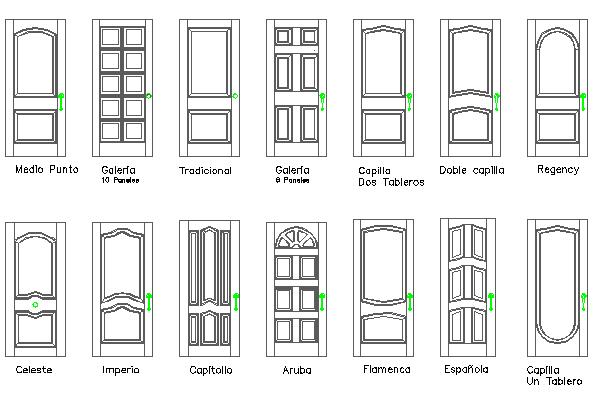 Common multiple door blocks design dwg file