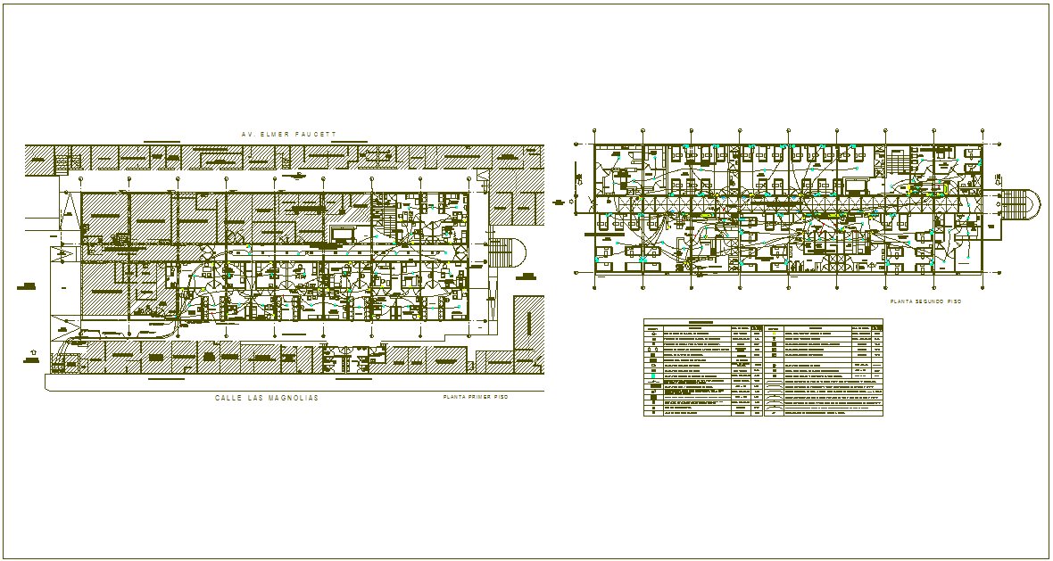 Communication line of communication electrical first and second plan view for hospital dwg file