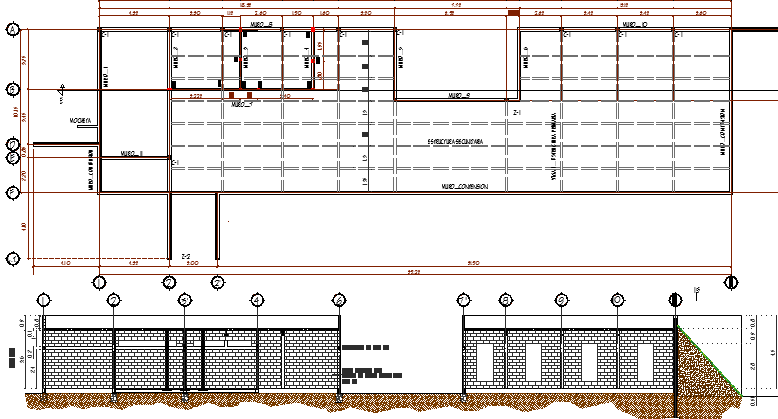 Community area building architecture project dwg file