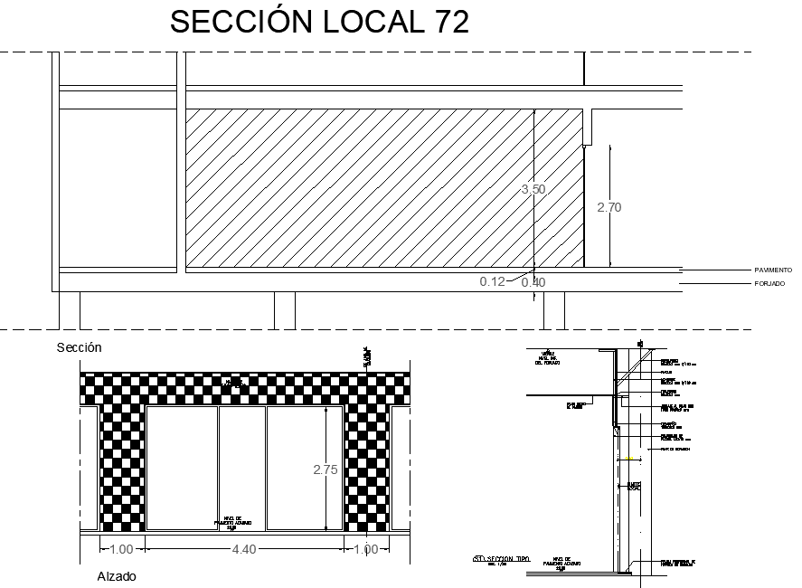 Completes mall commercial project section plan detail