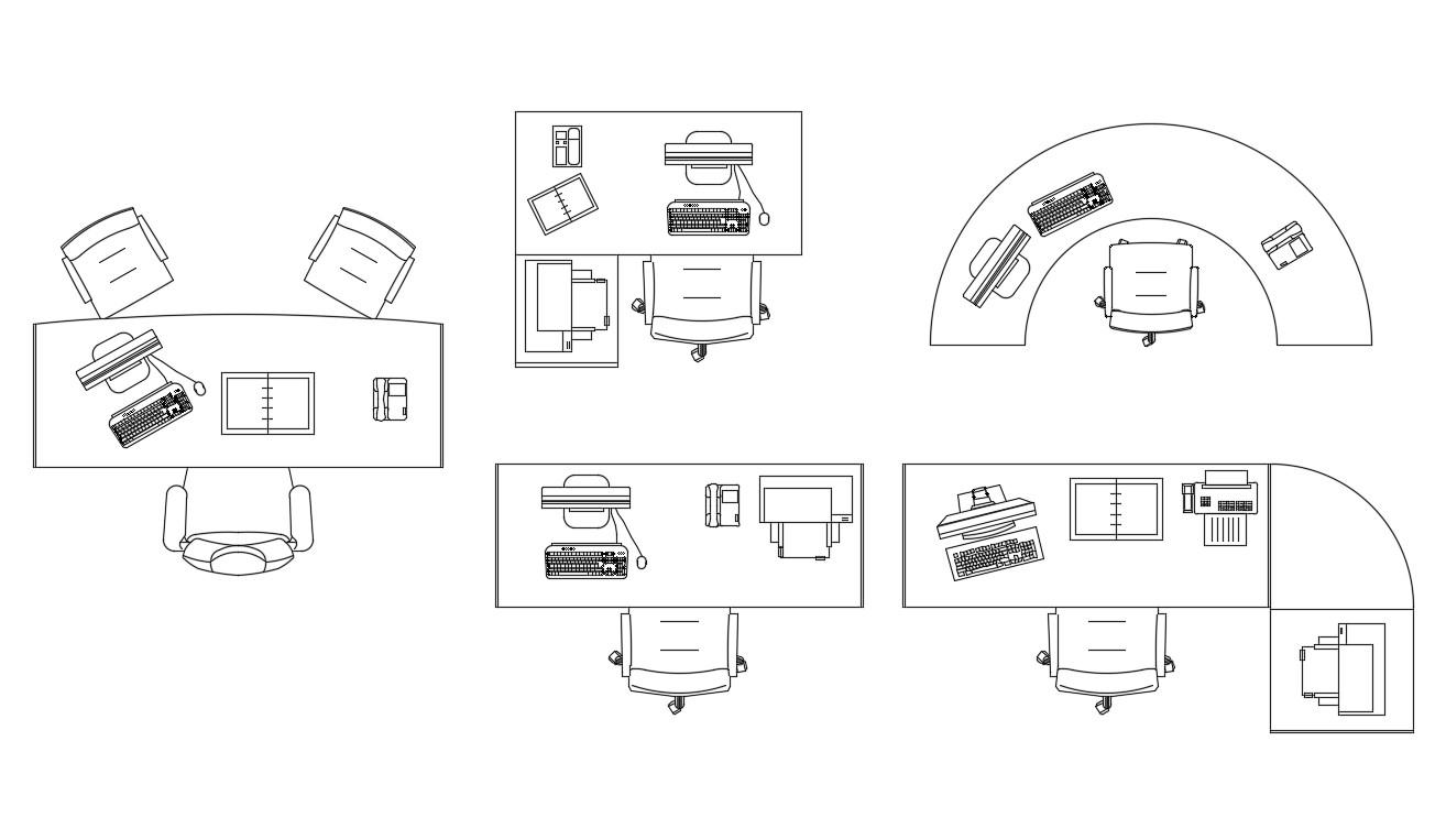Computer Desk CAD Block Cadbull