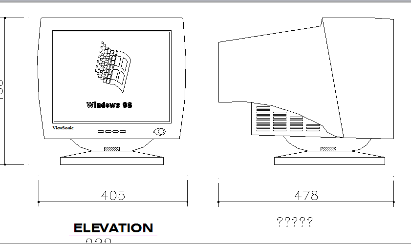 Computer monitor cad block details dwg file