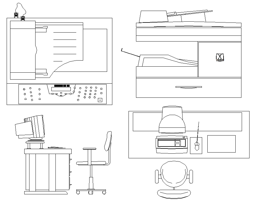 Computer table, chair, desk elevation dwg file