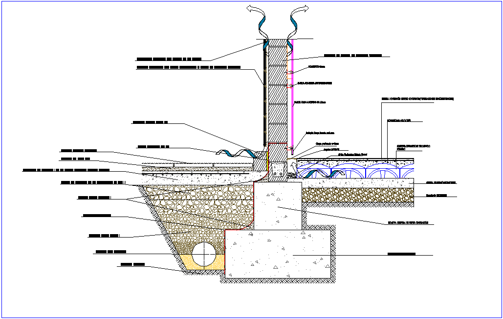 Concrete block with its section view of construction view dwg file