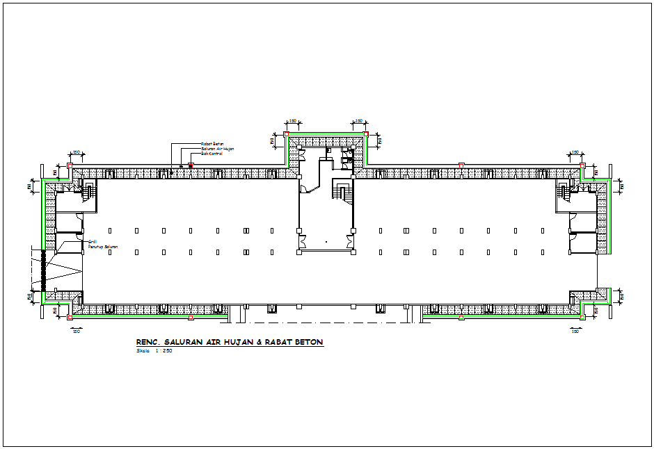 Concrete view with support of water railway for corporate building dwg file
