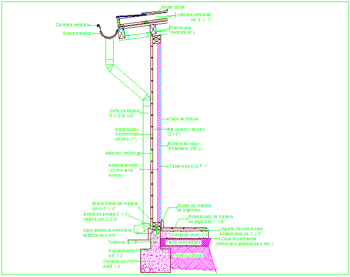 Construction Design with sectional view of down pipe dwg file