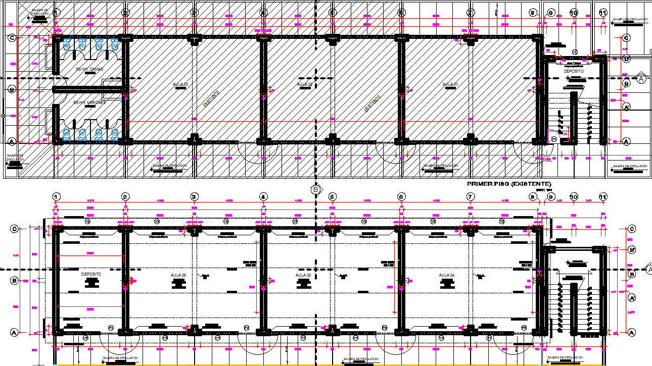 Construction detail of Classroom structure detail elevation dwg file