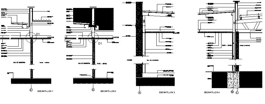 Construction details of caustics sliding door design dwg file