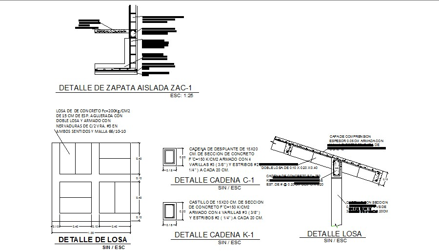 Construction details of footings and concrete slab dwg file