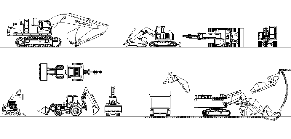 Construction Machine Design In DWG File