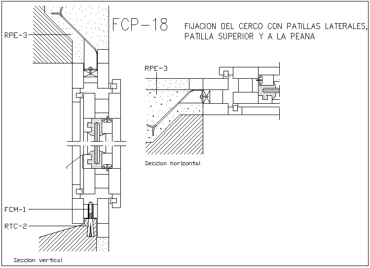 Construction of Fixing the fence with side pin section view dwg file