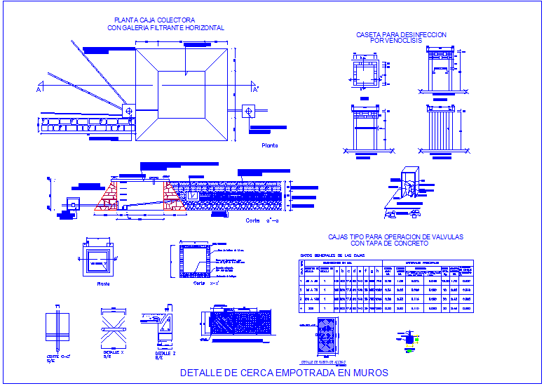 Construction view of box collector with detail view dwg file