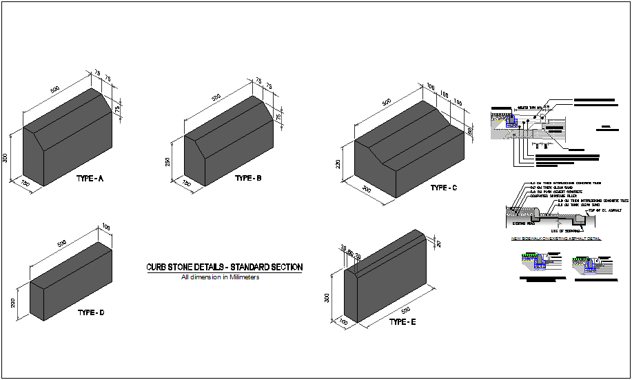 Construction View Of Curb Stone Detail Dwg File Cadbull