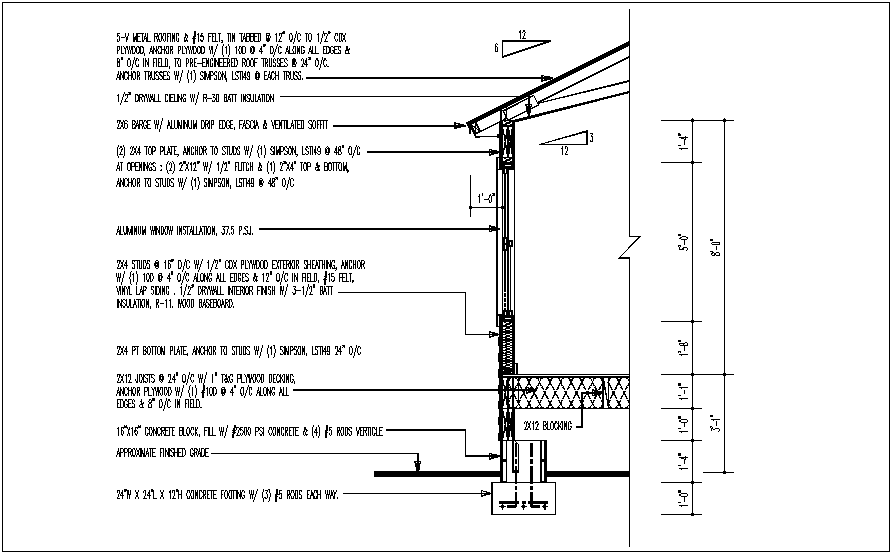 Construction view of wall and roofing  view dwg file