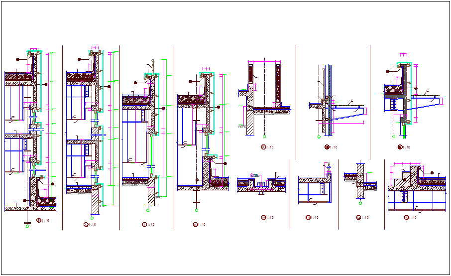 Construction view with window and wall detail dwg file