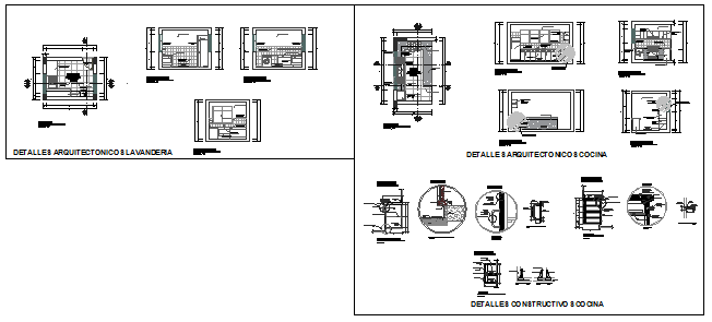 Constructive architectural detail and kitchen design drawing