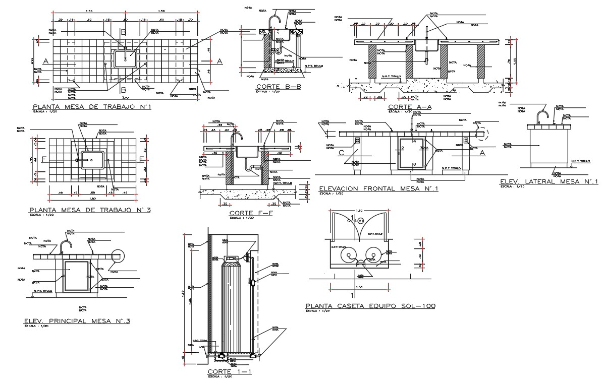 Constructive details of science college dwg file