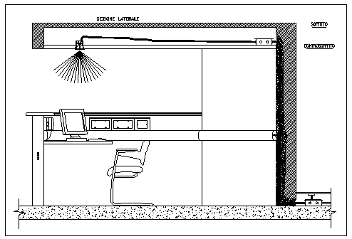 Constructive section design drawing for reception table