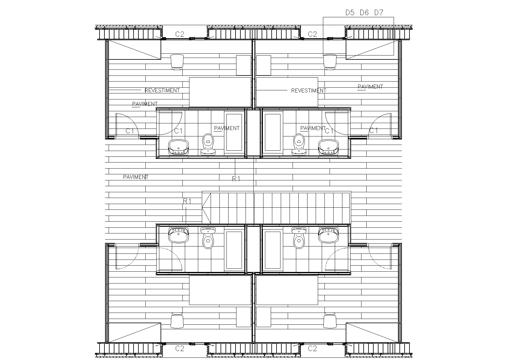 Constructive section plan detail dwg file.