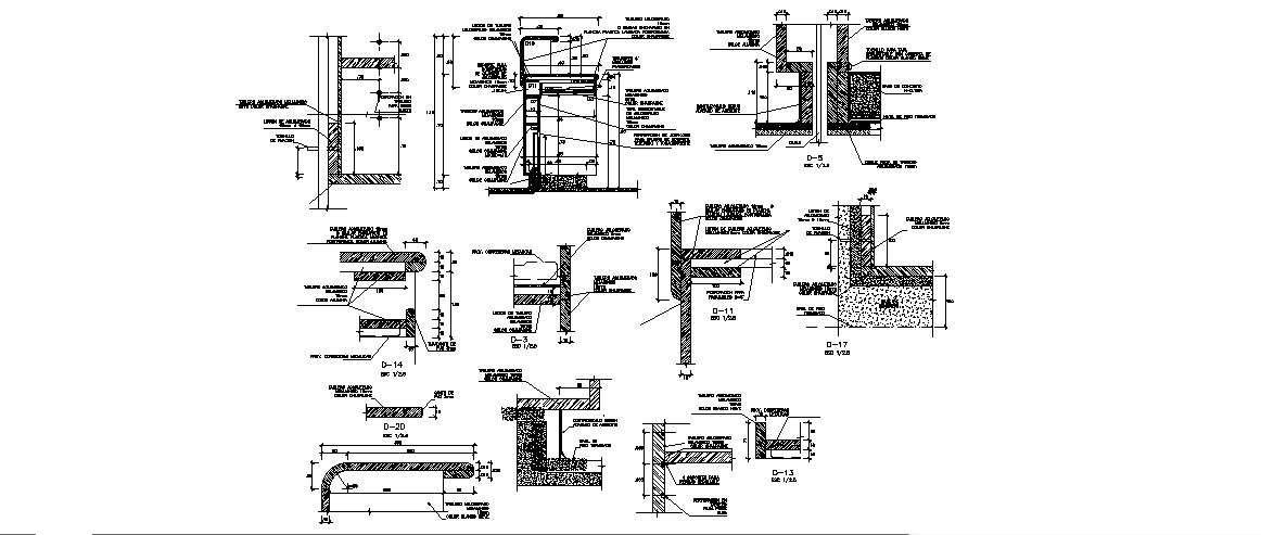 Continuation of table in L of station of nurses carpentry details dwg file