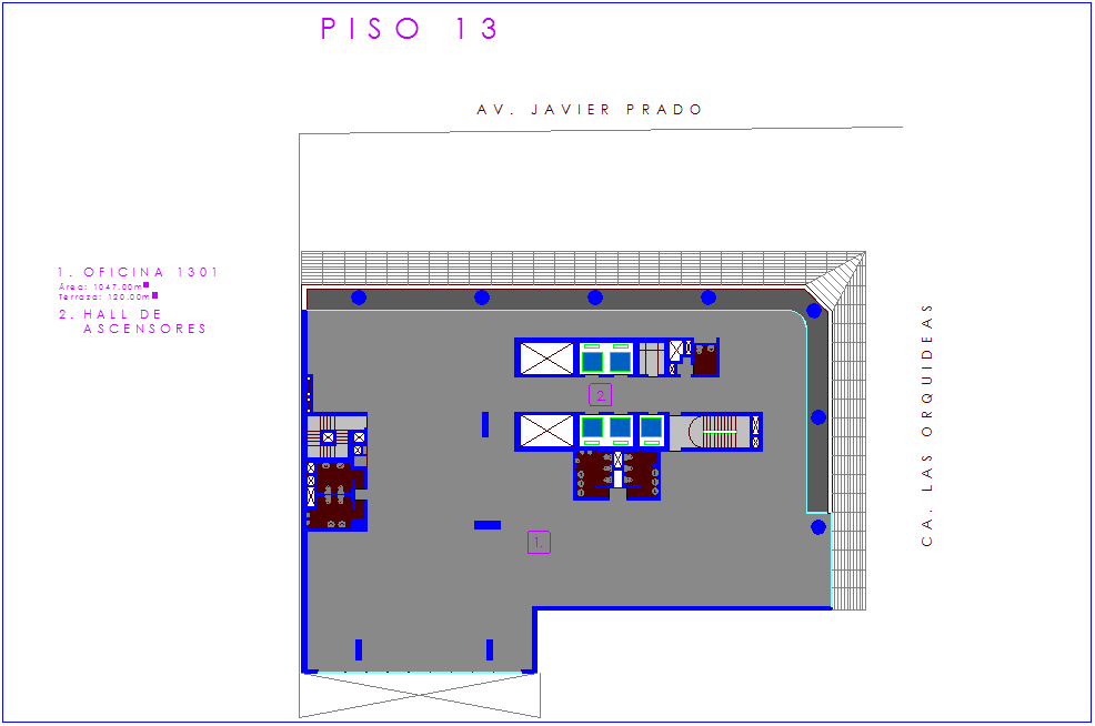 Corporate building floor pan with architectural view dwg file