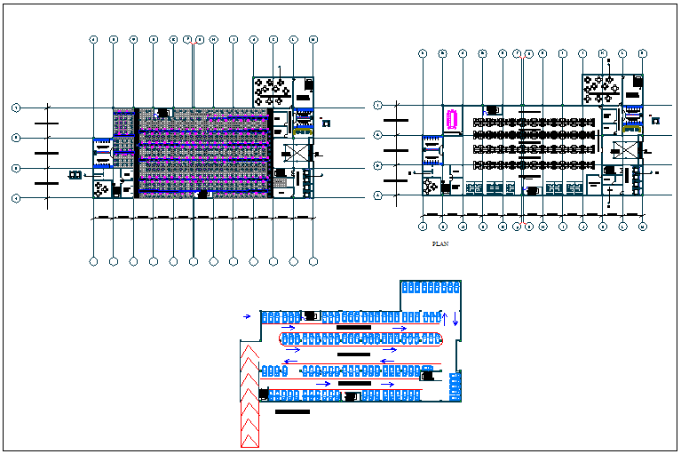 Corporate building floor plan and structure detail view dwg file