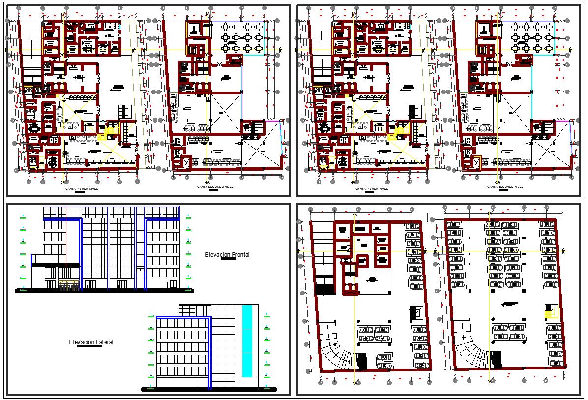 Corporate building plan detail dwg file