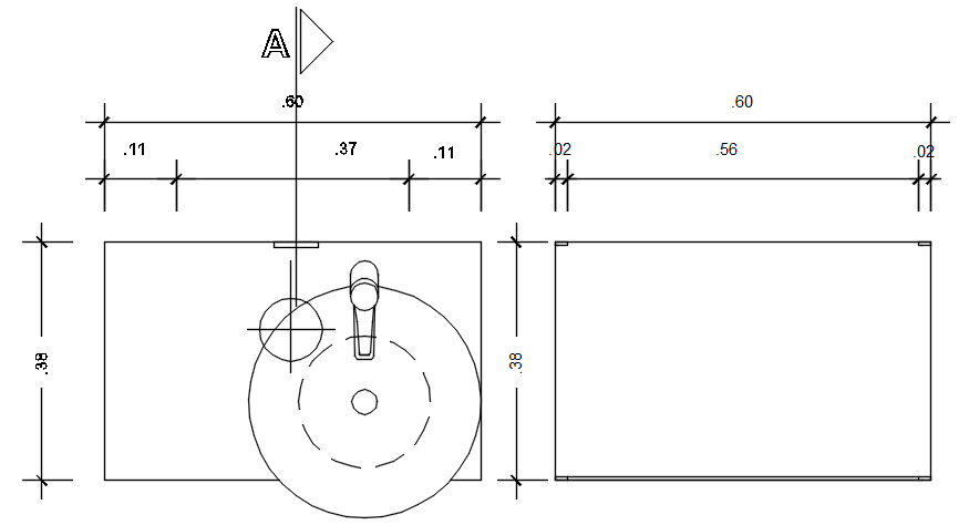 Countertop detail in autocad
