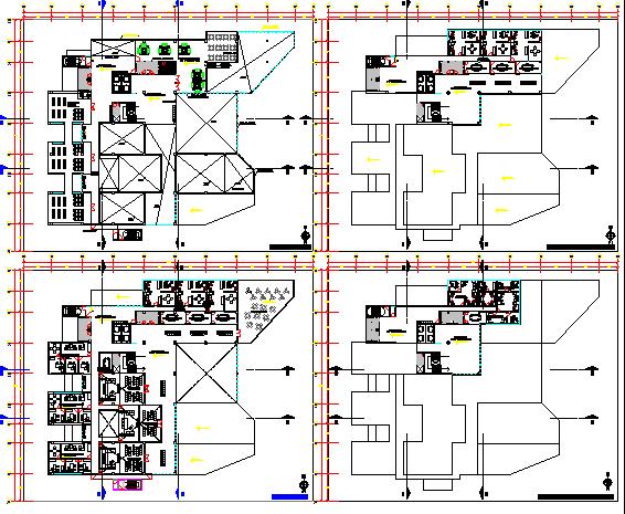 Court house high rise building floor plan details dwg file