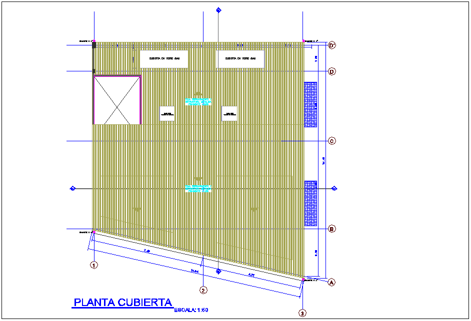 Cover plant with metallic structure view for housing and office area dwg file
