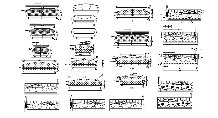 Creative classic sofa set blocks cad drawing details dwg file