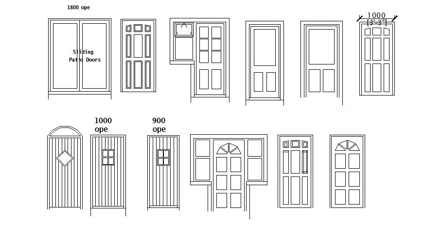 Creative single doors and sliding door blocks details dwg file