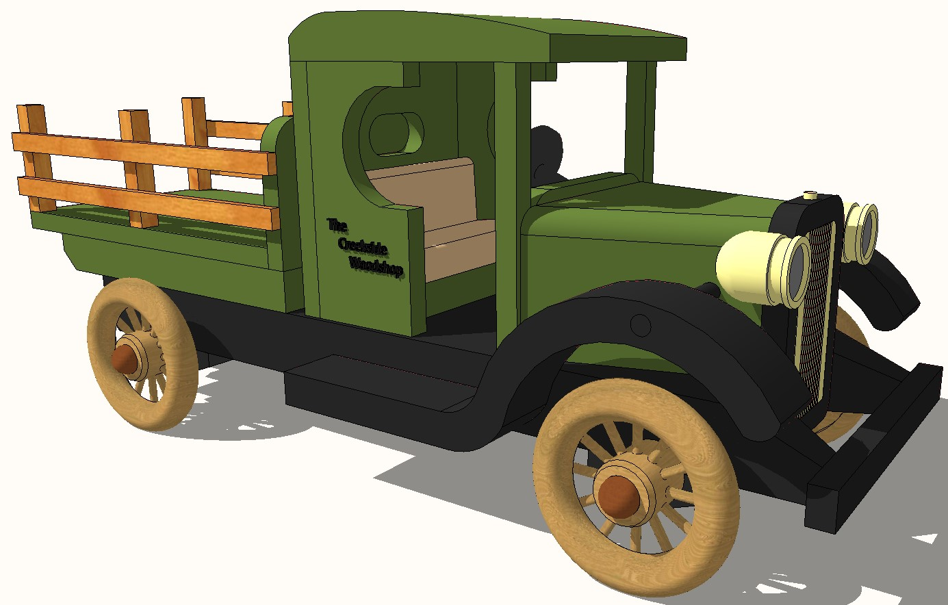Creative truck 3d elevation block cad drawing details skp file
