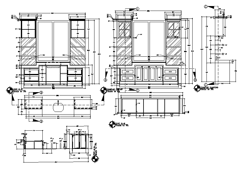 Cub board plan and elevation detail dwg file